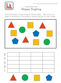 Graph Worksheets for Kids Kindergarten Graphing Worksheet Graphing Worksheets, Graphing Activities, Kindergarten Worksheets, Numeracy, Shapes Worksheets, Kindergarten Classroom, Teaching Math, Preschool Activities, Teaching Ideas