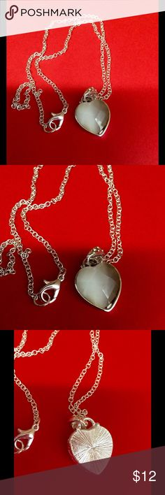 Moonstone silver heart necklace Silver heart of moonstone with silver chain Jewelry Necklaces