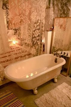 Shabby Chic Bath - Love this!  Would love to have an old tub like this one day!    http://www.finecraftguild.com
