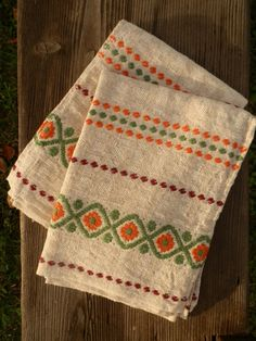 Two French Vintage Tea Towels - 1960's Basque Fabric - Linen Metis. $40.00, via Etsy.