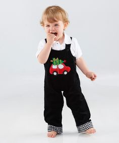 Look at this Mud Pie Black Tree Car Overalls - Infant & Toddler on #zulily today!
