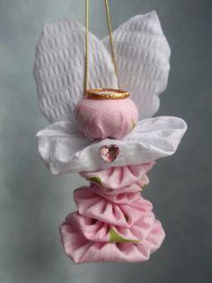 Pink Rose Print Yo Yo Angel Ornament Decoration by SursyShop, $7.00