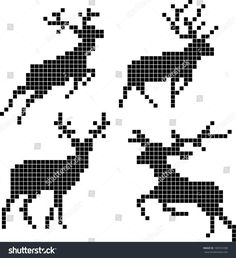 Pixel silhouettes of deers