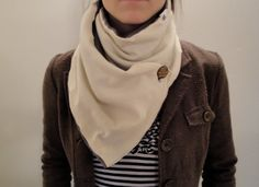 Cream Knit and Fleece Fashion Scarf $30.00