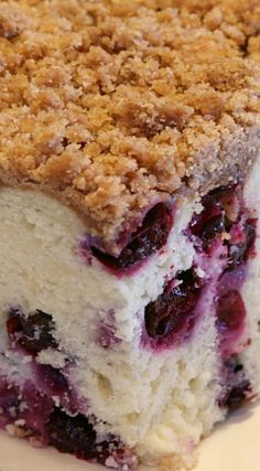 This easy Blueberry Coffee Cake streusel topping is one of my most cherished recipes. It's the best blueberry coffee cake recipe I've ever had. No Bake Desserts, Just Desserts, Delicious Desserts, Yummy Food, Baking Recipes, Cake Recipes, Dessert Recipes, Baking Pies, Baking Soda