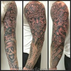 Upper Arm Green Man Tattoos