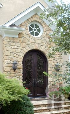 Beautifully hand-crafted, custom built wood and wrought iron doors for the home Black Front Doors, Blue Doors, Clark Hall, Wrought Iron Doors, Charlotte Nc, Double Doors, Gates, Garage Doors, Architecture