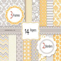 Yellow and grey Digital paper, digital scrapbook paper and clipart, damask digital paper, digital frame, digital border clip art -384