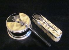 1930's Art Deco Enamel Powder Box & Matching Clothing Brush