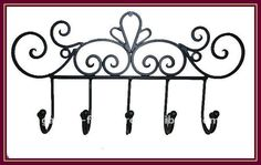 Vintage Metal Wall Mounted Hooks Decorative Fleur-de-lis Rusty ...