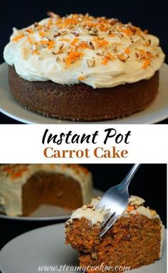 #Instant Pot Carrot #Cake with Cream Cheese Frosting. This moist cake is pressure cooked with steam. Perfect flavor and texture made even better with the addition of cream cheese frosting spiked with orange zest! @thesteamycooker Instant Pot Cake Recipe, Instant Pot Dinner Recipes, Pot Recipe, Cake For Two Recipe, Pressure Cooker Cake, Instant Pot Pressure Cooker, Pressure Cooker Desserts, Pressure Cooking, Moist Cakes