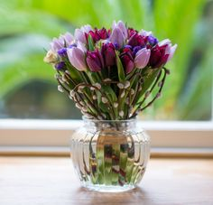 Spring ~ Tulips From Amsterdam Luxury Bouquet Willow Flower, Posy Flower, Easter Flowers, Tulips Flowers, Fresh Flowers, Flower Vases, Spring Flowers, Flower Arrangements, Beautiful Flowers