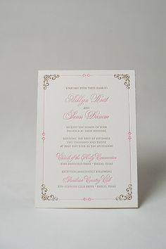 pink and gold wedding invitation, letterpress, double thick paper