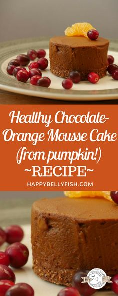 Healthy Chocolate-Orange Mousse Cake (from pumpkin!). Full recipe: https://happybellyfish.com/recipes/healthy-chocolate-mousse-cake-pumpkin/  Rohkost Nachtisch, Rohkost Torte Rezept, Kürbiskuchen vegan, Kürbistorte, Schokoladentorte Rezept,