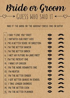 Wedding Guess Who Said It, Bridal Shower Games Printable, Bridal Shower Game Idea, Bridal Shower Ins He Said She Said, Perfect Wedding, Fall Wedding, Dream Wedding, Casual Wedding, Wedding Week, Wedding Stuff, Wedding Pins, Trendy Wedding