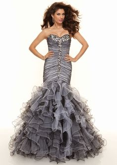 2013 Eye-catching Mermaid Slimly Tulle Hottest Prom Dress