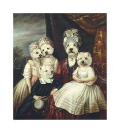 Les Enfants de la Comtesse II Reproduction procédé giclée Premium par Thierry Poncelet. Anthropomorphic dogs art.