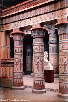 Crystal Palace Egyptian Court – Detail of the Philae Portico. Photographed in Dufay colour by Arthur Talbot – London August 1936 Old Egypt, Egypt Art, Luxor, Ancient Art, Ancient History, Ancient Egyptian Architecture, Art Ancien, Crystal Palace, Machu Picchu