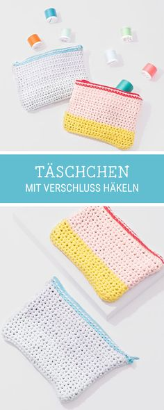 DIY-Anleitung: Täschchen mit Verschluss häkeln, #Häkelanleitung für eine kleine Tasche / #crochetpattern for a small purse with zipper via DaWanda.com
