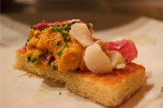 A little piece of heaven!! @ ZZ's Clam bar. The beef carpaccio by itself could be a little salty, but when it paired together with the sea urchin's sweetness, the lobster's fresh and crunchiness, and atop the airy crispy toast. And there were bits of clams on it as well. Bonus!!!