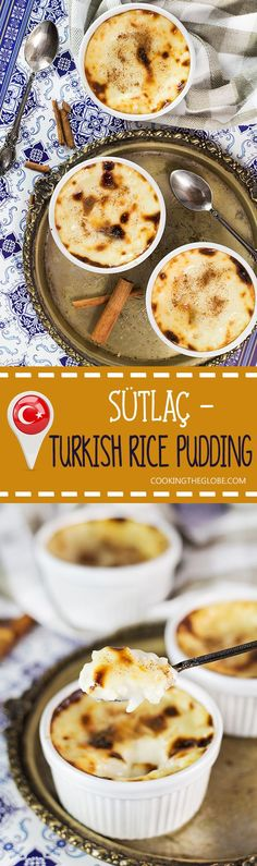 Creamy, rich, and melting in your mouth, this Turkish Rice Pudding (Sütlaç) can be served either warm or chilled. A perfect light dessert for any time of the day! | http://cookingtheglobe.com