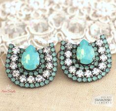 Mint Opal Crystal Statement Earrings Mint Swarovski by iloniti