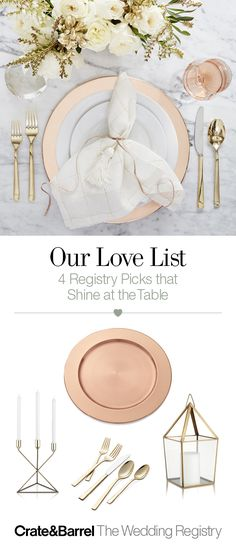 Add a touch of glam to your home decor with copper and gold hues that will warm up any table setting.
