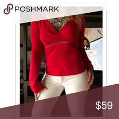 A|X Armani Exchange Long Sleeve Top 🎀HOST PICK🎀 Armani Exchange Long Sleeve Red Top A/X Armani Exchange Tops