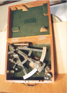 "Sextant in  Wooden case with extra set of eye pieces used in mining  the North Sea in World War I, marked ""English''. Circa 1860. At Chatham Historical Society, Chatham, MA. #chatham, #chathamhistoricalsociety, #atwoodhouse, #sextant, #capecod"