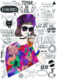 illustration by W Simple Illustration, Illustration Girl, Pop Design, Chalk Art, Illustrations And Posters, Pretty Art, Art Drawings, Character Design, Collage