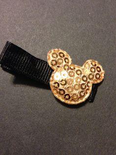 Gold Mickey hair Clippie non slip by mycutesies on Etsy, $1.00