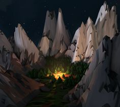 Low Poly Forest by Timmy Chau, via Behance