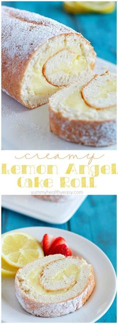 Creamy Lemon Angel Cake Roll {+ 21 Baby Shower Desserts} -- A light angel cake roll filled with a creamy lemon filling; makes an impressive (lighter) dessert and uses NO butter or oil! 13 Desserts, Lemon Desserts, Lemon Recipes, Baking Recipes, Sweet Recipes, Delicious Desserts, Dessert Recipes, Angel Food Cake Desserts, Angel Food Cake Mix