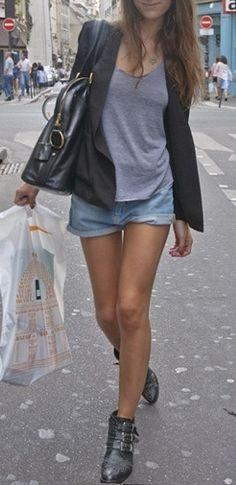 blazer + denim shorts.