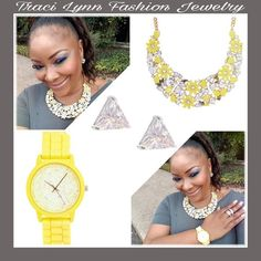 Traci Lynn Fashion Jewelry   Mellow Yellow Necklace  Spring Time Watch - Also comes in Pink & White  Dainty Diamond Earrings   www.tracilynnjewelry.net/Party/HisWill/