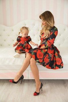 Rose - matching dresses, floral mother and me dresses, family outfits, mother…- Mommy and Me Fashion -meadoria Mother Daughter Matching Outfits, Mother Daughter Fashion, Mommy And Me Outfits, Family Outfits, Girl Outfits, Mommy And Me Dresses, Moda Outfits, Fashion Kids, Girl Fashion