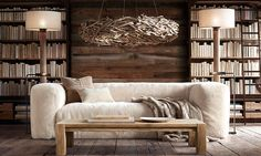 Cozy and earthy living room with reclaimed wood and natural materials | Restoration Hardware