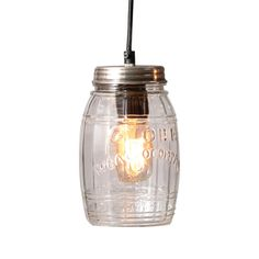 Mason Jar Pendant Lamp I'm thinking three gathered over the kitchen table, five or seven spread out a little across the middle of the kitchen,& a couple of the small ones over the sink. It just makes me smile.