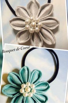 ハンドメイドフラワーヘアゴム パール付♪ ¥500 Handmade flower hair accessory with pearl