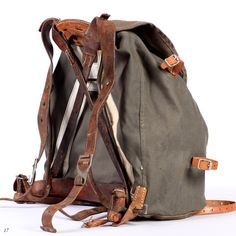 Leather and Canvas Rucksack . External Frame by BetaPorHomme