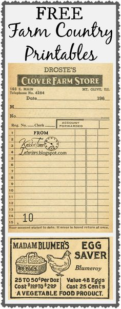 Antique Graphics Wednesday – Farm Store Receipt & Egg Saver Advertisement FREE Farm Country Printables ~~~from Knick of Time @ Printable Labels, Printable Paper, Free Printables, Labels Free, Printable Vintage, Papel Vintage, Vintage Paper, Vintage Clip Art, Vintage Decor