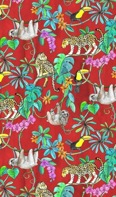 Rainforest Friends - watercolor animals on textured red - small by Micklyn #sloth #jaguar #toucan #tropical #pattern