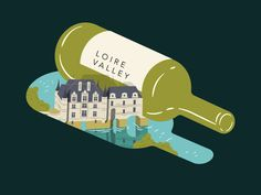 Another illustration for the Saute wine feature highlighting wines from various regions. illustration Wine Feature Loire Valley - Illustration for Saute Magazine Italy Illustration, Digital Illustration, Castle France, Wine Pics, Loire Valley, Wine Magazine, Cute Poster, Wine Brands, Wine Design