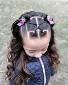 Toddler Hair Dos, Easy Toddler Hairstyles, Easy Little Girl Hairstyles, Kids Curly Hairstyles, Cute Girls Hairstyles, Work Hairstyles, Toddler Girl, Girl Hair Dos, Crazy Hair Days