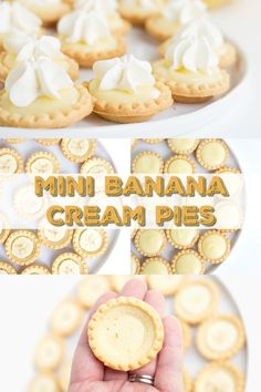 banana pie These mini banana cream pies are made with a shortbread crust, a sliceof banana, homemade banana pudding, and topped with whipped cream. They're the perfect tiny dessert that doe Cheesecake Desserts, Mini Desserts, Sweet Desserts, Individual Desserts, Easy Banana Cream Pie, Banana Pie, Homemade Banana Pudding, Homemade Pie, Banana Treats