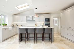 We always get very excited about sharing our latest projects and this kitchen is no exception! This is a fantastic kitchen space . Kitchen Diner Extension, Open Plan Kitchen Diner, Open Plan Kitchen Living Room, Kitchen Dining Living, Kitchen Layout, New Kitchen, Kitchen Design, Space Kitchen, Kitchen Interior