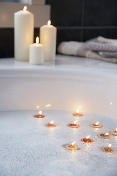 bath with candles...love...