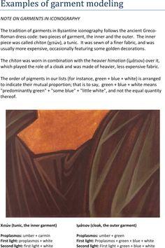 "THE BOOK OF IOANNIS CHARILAOS VRANOS, ""THE TECHNIQUE OF ICONOGRAPHY"": http://www.versta-k.ru/en/articles/1077/ Modeling of the garments the translator - Paul Stetsenko (https://www.facebook.com/paul.stetsenko)"