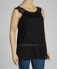 Look what I found on #zulily! Black Lace Sleeveless Top - Plus #zulilyfinds
