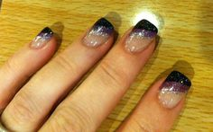 Black, purple and silver nails